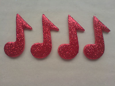 £4.50 • Buy 12 Glittery Red Music Notes- Edible Sugar Cake Decorations / Toppers