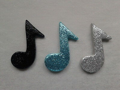 £4.50 • Buy 12 Glittery Turquoise Mix Music Notes- Edible Sugar Cake Decorations / Toppers