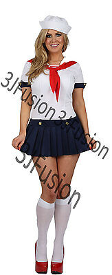 Ladies Sailor Girl Fancy Dress Costume Nautical Outfit Hen Party FREE POST (AJ) • 13.80£