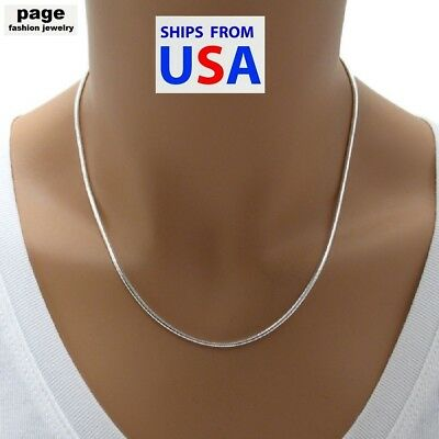 $5.89 • Buy USA Seller- 925 Sterling Silver 2mm Snake Chain 18  20  24  Necklace Jewelry