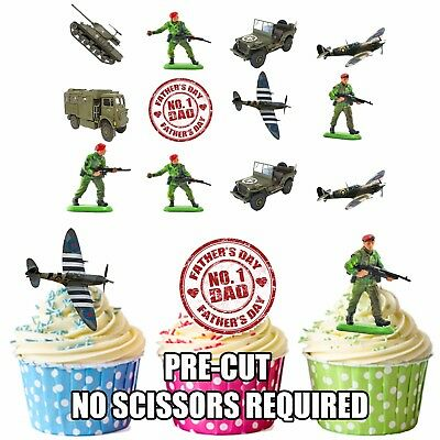 £3.49 • Buy PRECUT Fathers Day Dad Army Military Edible Cupcake Toppers Cake Decorations