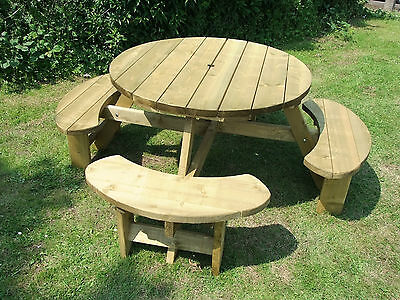 Round Picnic Table Bench Winchester WRB38G 1140mm Table Top, 38mm Treated Timber • 204.95£