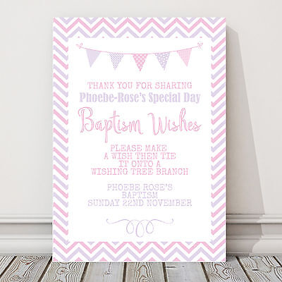 £5.50 • Buy Christening Or Baptism Wishes Wishing Tree Guest Book Sign Pink Blue Bunting CH6