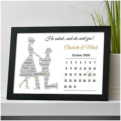 Personalised Engagement Gift Present Date Of Engagement Calendar Couples Gifts • 5.95£