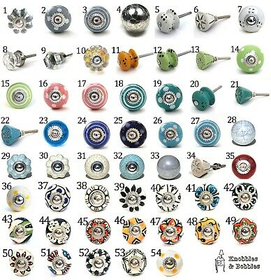 Small Chic Cupboard Door Knobs Handles Drawer Pulls. Ceramic Knobs And Glass • 1.69£