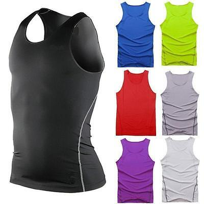 £6.99 • Buy Mens Sports Gym Compression Base Layers Tops Tight Tank T-Shirts Vests Quick Dry