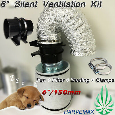 AU190 • Buy 6 /150mm Axial Fan HARVEMAX Carbon Filter Hydroponics Grow Tent Ventilation Kit