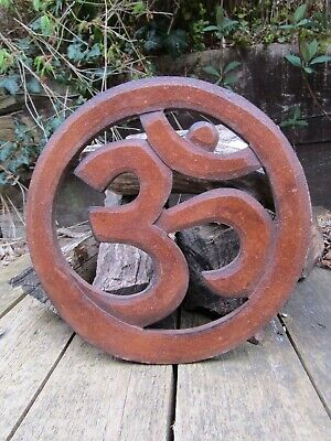 Hand Made Carved Om Aum Hindu Buddha Wall Art Sign Symbol Hanging Plaque Carving • 14.99£