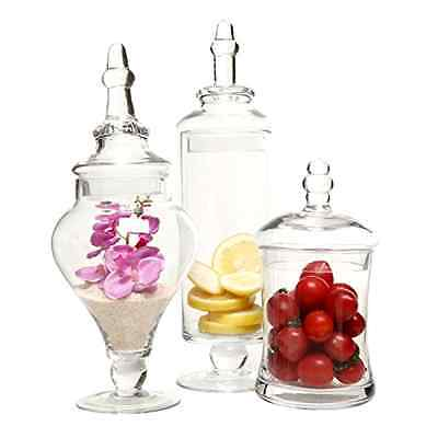3 Pc Set Designer Clear Glass Apothecary Jars Decorative Weddings Candy Buffet • 50.13£