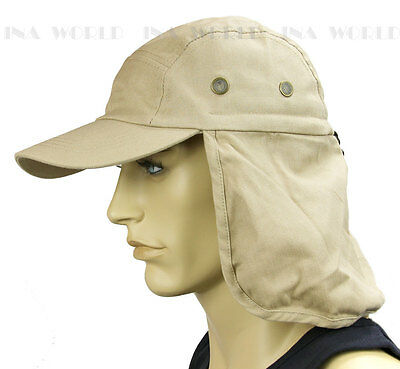 $6.85 • Buy Sun Cap Ear Flap Neck Cover Sun Protection Baseball Cap Style- Khaki Beige