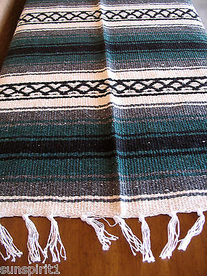 Falsa Serape ONW-Dk Green New West Southwest Southwestern Mexican Blanket Afghan • 28.78£