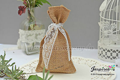 25 X Wedding Favor Bags Burlap Pouches Hessian Sack Sweets Party Lace  • 28.75£