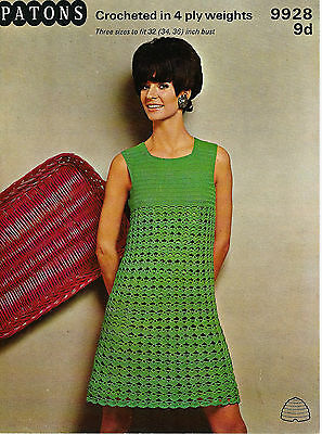 LADIES CROCHET PATTERN LOVELY VINTAGE 4ply DRESS 3 SIZES 32-36  BUST • 2.48£