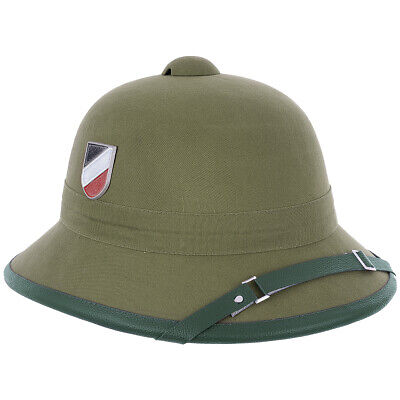 German Army Wehrmacht Afrika Korps Tropical Pith Helmet + Goggles Replica Olive • 37.95£