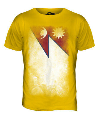 Nepal Faded Flag Mens T-shirt Tee Top Nep?la Nepali Nepalese Shirt Football • 18£