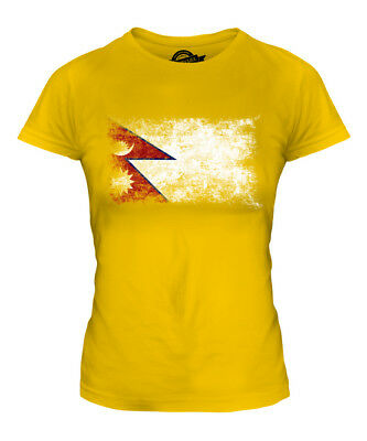 Nepal Distressed Flag Ladies T-shirt Top Nepala Nepali Nepalese Shirt Football • 18£
