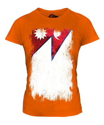 Nepal Grunge Flag Ladies T-shirt Tee Top Nepala Nepali Nepalese Shirt Football • 18£