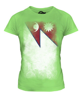 Nepal Faded Flag Ladies T-shirt Tee Top Nepala Nepali Nepalese Shirt Football • 18£