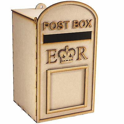 £16.50 • Buy Large Post Box, Royal Mail Design, Unpainted 3mm MDF, For Wedding Cards Etc.