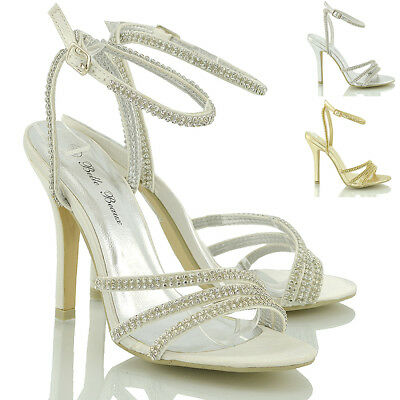 £9.99 • Buy Womens Ankle Strap Sandals Stiletto Heel Ladies Diamante Party Prom Shoes Size