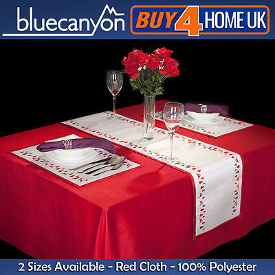 Christmas Red Tablecloth Polyester Table Cloth  Xmas Party Catering  Dining • 7.99£