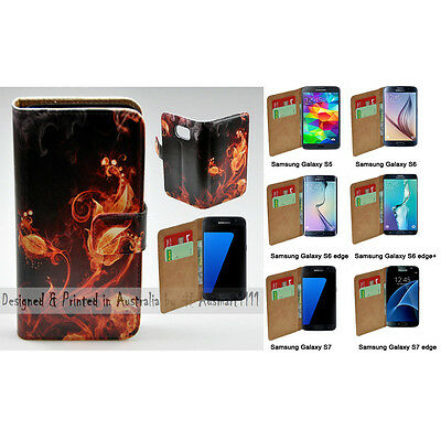 $ CDN14.65 • Buy For Samsung Galaxy Series Flame Flower Print Wallet Mobile Phone Case Cover