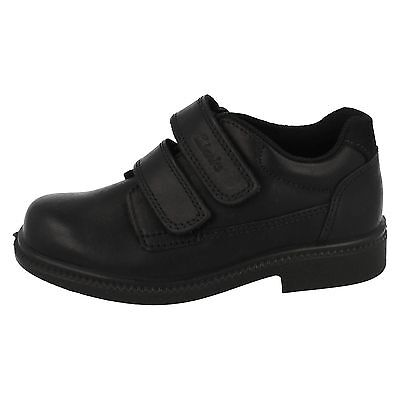 £25 • Buy * SALE *  CLARKS Deaton Inf RIP TAPE BLACK SHOES