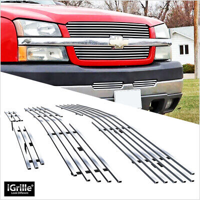 $90 • Buy Fits 2003-2005 Chevy Silverado 1500/03-04 2500/3500 Chrome Billet Grille Combo