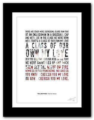 £14.95 • Buy ❤ THE LIBERTINES Time For Heroes ❤  Song Lyrics Typography Poster Art Print #117