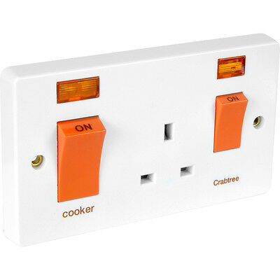 £25.50 • Buy NEW Crabtree Cooker Switch And Socket 45A 13A Neon DIY, Kitchen, White