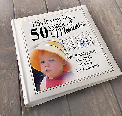 Personalised Large Luxury Guest Book Photo Album, 50th Birthday Present Gift • 34.99£