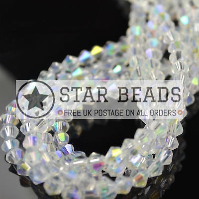 £2.10 • Buy Faceted Bicone Crystal Glass Beads Clear Ab 4mm/ 5mm/ 6mm