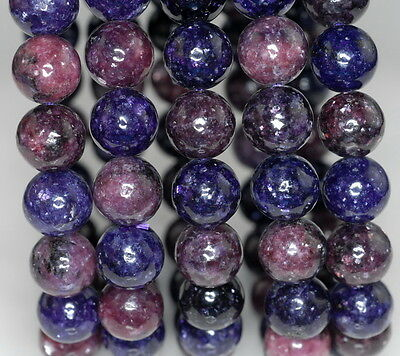 $9.99 • Buy 9-10mm Natural Lepidolite Gemstone Grade Aa Purple Round 9-10mm Loose Beads 7