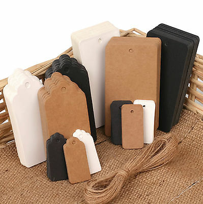 ECO KRAFT Paper Gift TAGS Card Label | Free String | 100 Per Pack | UK Seller  • 2.49£