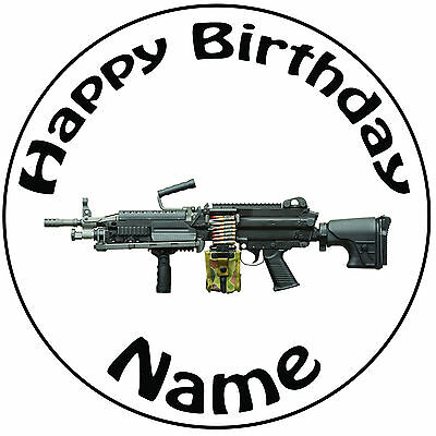 £5.49 • Buy  Military Army Machine Gun Personalised Round Icing Cake Topper - Easy Pre-cut