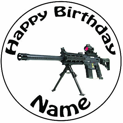 £5.49 • Buy  Military Army Sniper Gun Personalised Round 8  Icing Cake Topper - Easy Pre-cut