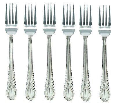 £2.99 • Buy 6 X LARGE STAINLESS STEEL KING PATTERN DESIGN TABLE DINNER FORK CUTLERY SET NEW