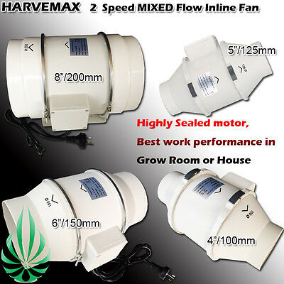 AU105 • Buy 2 Speed Inline Ventilation Exhaust Fan 4 /5 /6 /8  Vent Duct Extractor Low Noise