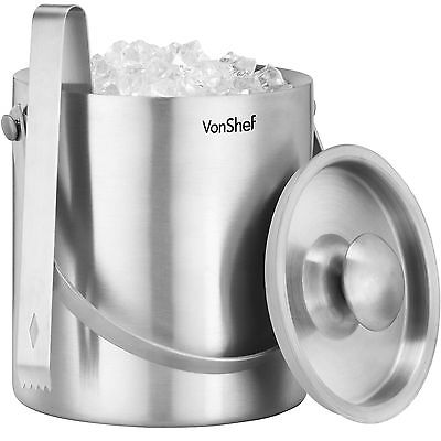 VonShef Ice Bucket Silver 2L Stainless Steel Insulated Lid Tongs Wine Cooler  • 21.99£
