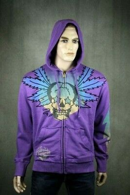 Ed Hardy Men's Hoodie Smoking Skull Purple A9GHAAUF • 111.16£