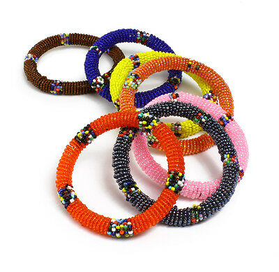 $14.77 • Buy Maasai African Beaded Bracelets - Round   Jewelry For Women 3 Per Order