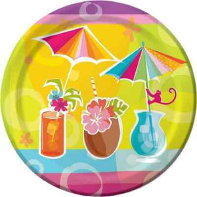 Happy Hour Summer Luau Tropical Drink Cocktail Party 9  Paper Dinner Plates • 6.21£