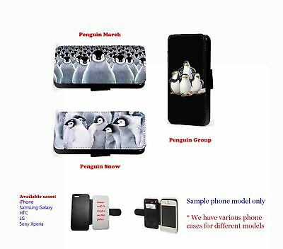 Penguin Groups Cute Snow Faux Leather Phone Case For Samsung IPhone • 11.20£