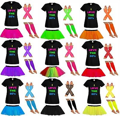 AU23.34 • Buy Ladies Tutu Tshirt Gloves Leg Warmers 80s Fancy Dress Set Costume Neon Festival