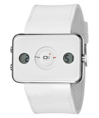 $72.26 • Buy 01 The One Turning Disc Digital & Analog Watch Ip104-3wh White Case Pu Strap