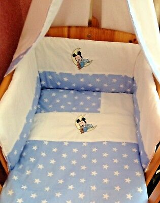 £66.99 • Buy Beautiful Bespoke Crib Cot Cotbed Bumper Set With Mickey Mouse Choose Col/design