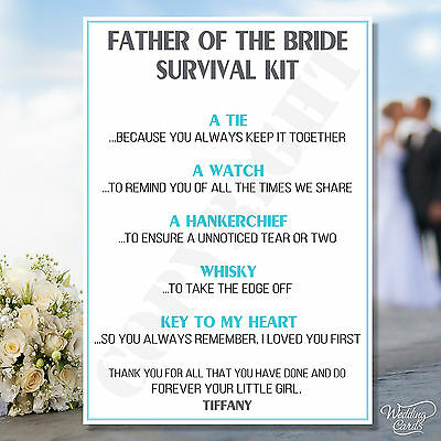 £1.90 • Buy Father Of The Bride Novelty Survival Kit Favour Keepsake Thank You Gift Card A6