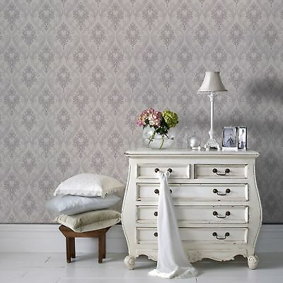 Superfresco Royale Glitter Textured Damask Lilac/White Wallpaper (Was £16) • 8.99£