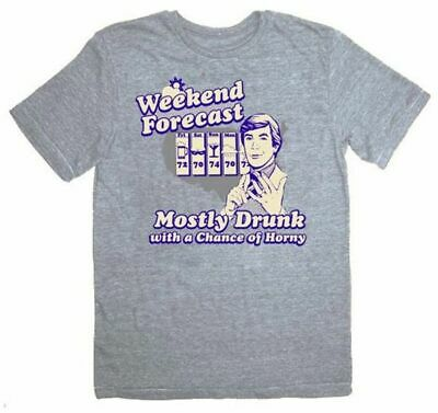 Adult Heather Gray The Hangover Weekend Forecast Mostly Drunk Horny T-shirt Tee • 16.98£