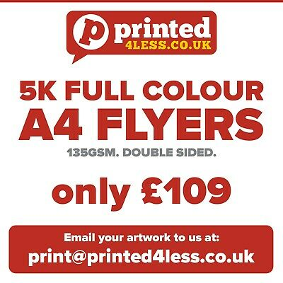 £105 • Buy 5000 A4 Flyers Double Sided Printed Full Colour 135gsm A5 A6 Leaflet Flier